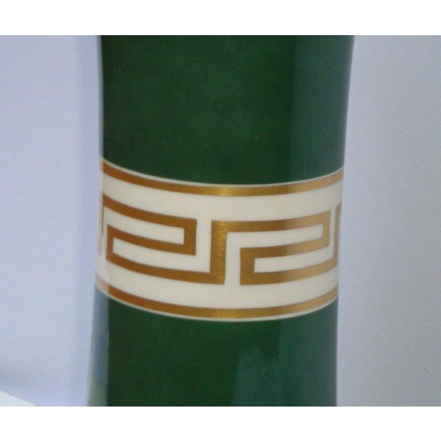 Antique Greek Key Green Gold White Ceramic Lamp - Image 10 of 11