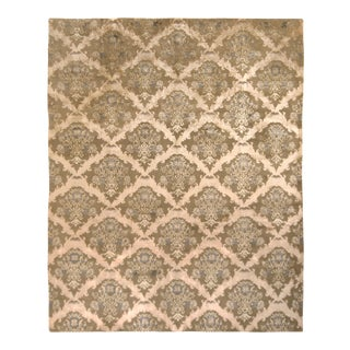 Hand-Knotted European Floral Rug Beige Green Custom Pattern by Rug & Kilim For Sale