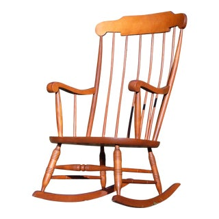 Vintage Nichols & Stone Colonial Style Solid Maple Rocking Chair Windsor Rocker For Sale