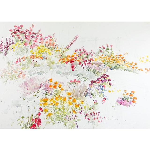 Garden Flowers Watercolor Painting For Sale