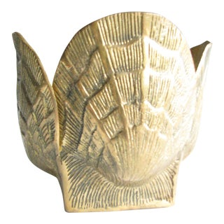 Vintage Mid Century Hollywood Regency Brass Sculpted Shell Planter For Sale