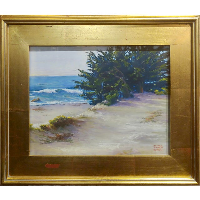 """Donna Jensen Burke -Sandy Overlook at a Mendocino Beach-Painting frame size 20 x 16"""" paper size 13 x 11"""" Pastel on paper..."""