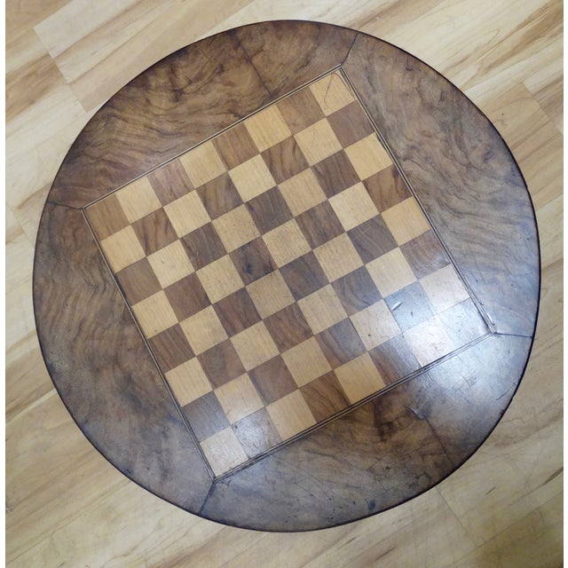 English Pedestal-Style Chess Table - Image 3 of 4