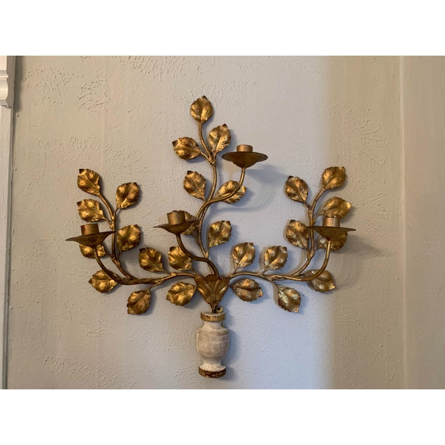 Italian 1950s Italian Carved Vasiform & Leafy Branch Wall Sconce For Sale - Image 3 of 13