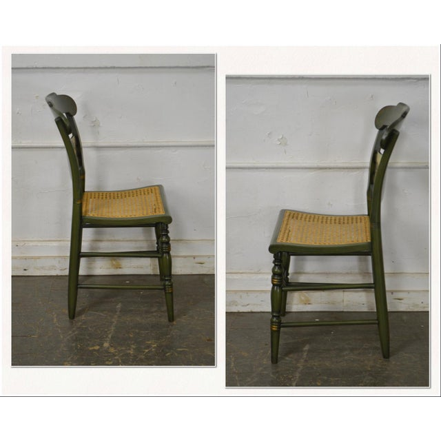 *STORE ITEM #: 17413-fwmr Hitchcock Green Painted George Washington Mount Vernon Cane Seat Side Chair AGE / ORIGIN:...