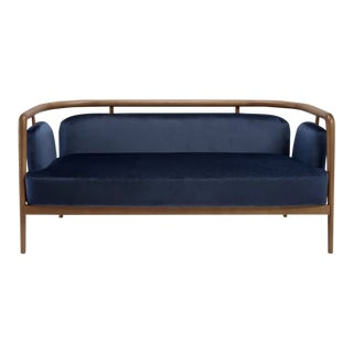 Contemporary Midcentury Modern Walnut Sofa For Sale
