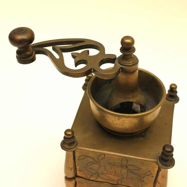 19th Century European Solid Brass Coffee Mill - Image 8 of 8