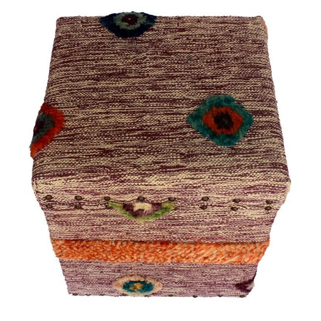 Delmar Purple/Ivory Morrocan Wool Upholstered Handmade Storage Ottoman For Sale - Image 4 of 8