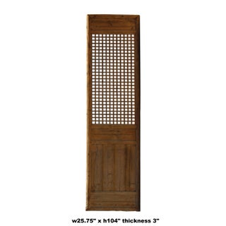 Chinese Old Rustic Bold Geometric Open Pattern Wall Tall Panel Divider Preview