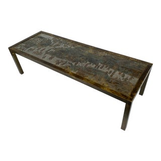 Philip and Kelvin LaVerne Etched Bronze Coffee Table For Sale