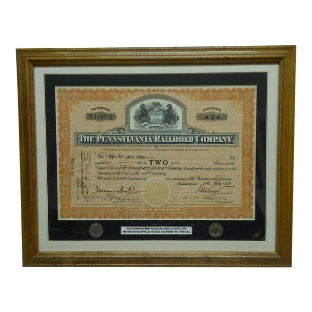 """Vintage Framed & Matted Multi-Media Collage """"1928 Pennsylvania Railroad Stock Certificate"""" For Sale"""