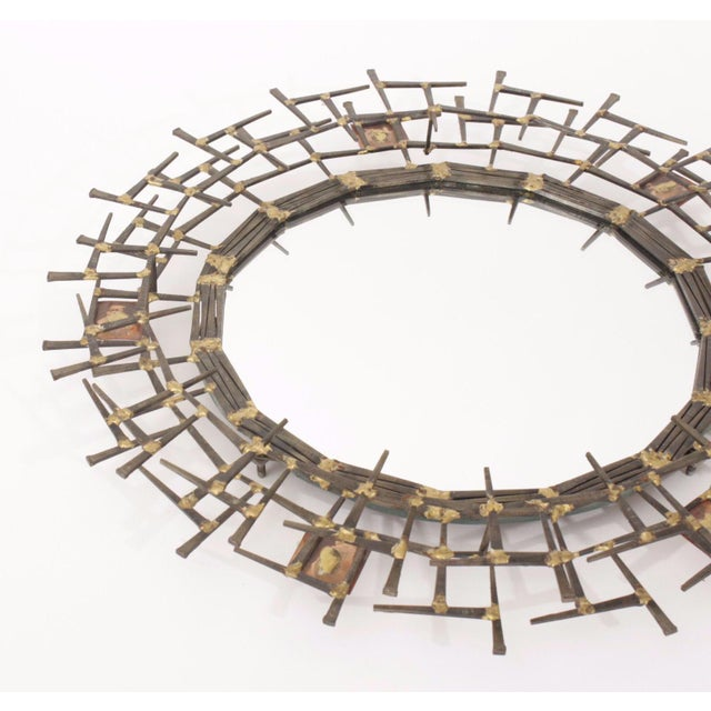 Bauhaus 1970s Brutalist Nailhead Sunburst Mirror For Sale - Image 3 of 5
