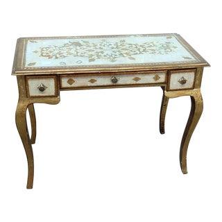Vintage Florentine Distressed Painted Writing Desk For Sale