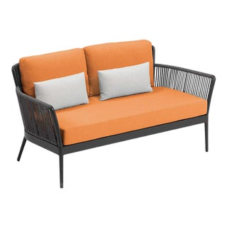 Outdoor Loveseat, Carbon, Tangerine and White For Sale