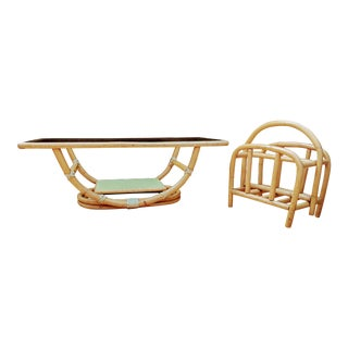 Ficks Reed Rattan Bamboo 1950s Boho Chic Coffee Table & Magazine Holder - a Pair For Sale