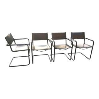 1980s Vintage Matteo Grassi Bauhaus Black Saddle Leather Sling Tubular Chairs-Set of 4 For Sale