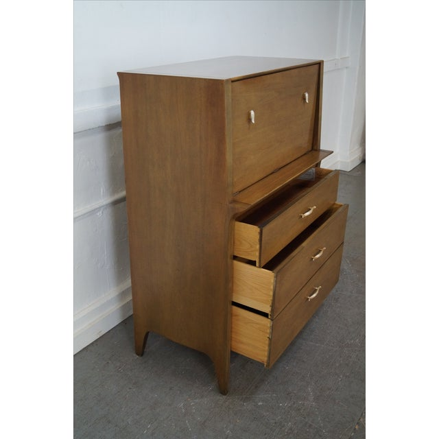 Drexel Profile Mid-Century Walnut Tall Chest For Sale - Image 5 of 10