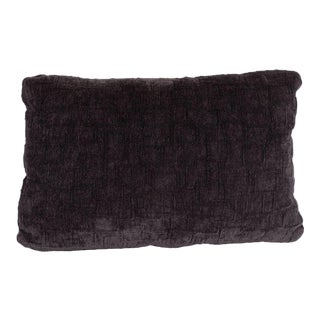 Custom Handmade Gaufraged Velvet Rectangular Pillow in a Smoked Amethyst Hue For Sale