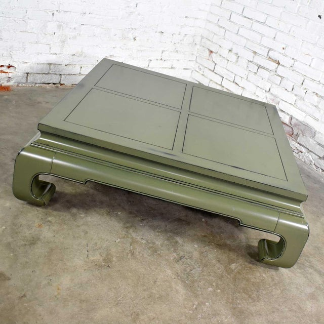 Monumental Square Asian Ming Style Lacquered Coffee Table in Sage Green For Sale - Image 11 of 13