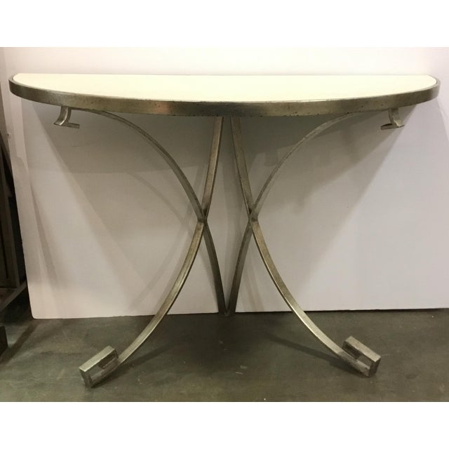 Metal Vangaurd Modern Metal and Stone Demi-Lune/Console Table For Sale - Image 7 of 7