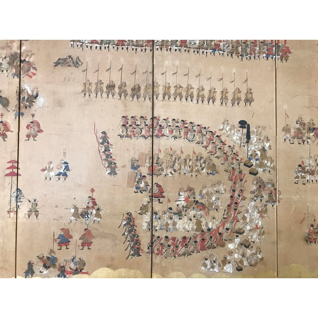 Gold Leaf Early 19th Century Japanese 4 Panel Screen For Sale - Image 7 of 8