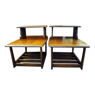Mid Century Modern Lane Step End Tables in Walnut -1960's For Sale