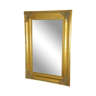 Renaissance Style Large Gold Gilt Wood Frame Beveled Wall Mirror For Sale