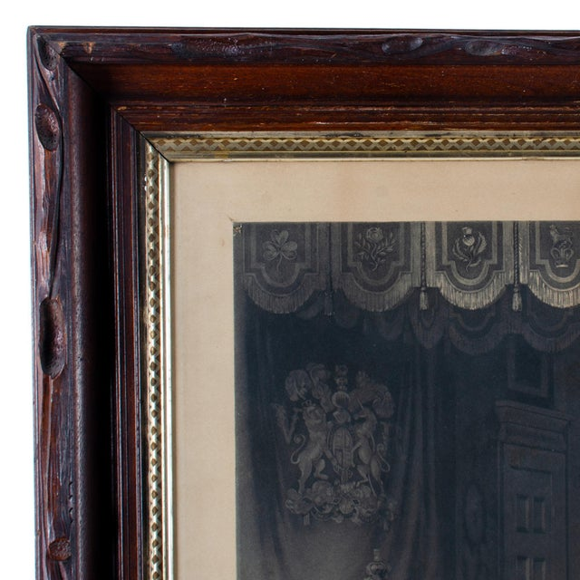 Mid 19th Century Antique Queen Victoria Drawing Room at St. James's Palace Engraving Print For Sale - Image 4 of 6