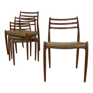 1990s Vintage Niels Møller Model 78 Teak & Leather Danish Dining Chairs- Set of 4 For Sale