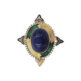 1960s Jomaz Rhinestone Cabochon Enamel Brooch & Pendant For Sale