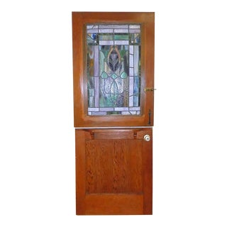 Antique Dutch Door With Leaded Glass Insert For Sale