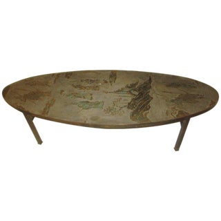 Philip and Kelvin LaVerne Signed Patinated Bronze Oblong Coffee Table For Sale