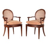 Image of 1940s Vintage Directoire Style Open Arm Chairs - a Pair For Sale
