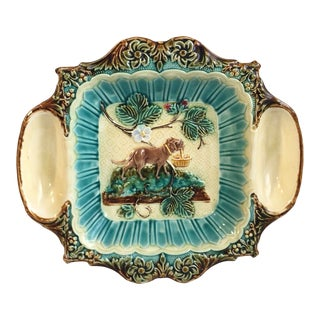 19th Century Majolica Strawberries Platter With Dog Holding a Basket For Sale