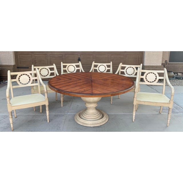 Vintage Baker Furniture Milling Road French Country Dining Table and Six Chairs - Set of 7 For Sale - Image 10 of 11