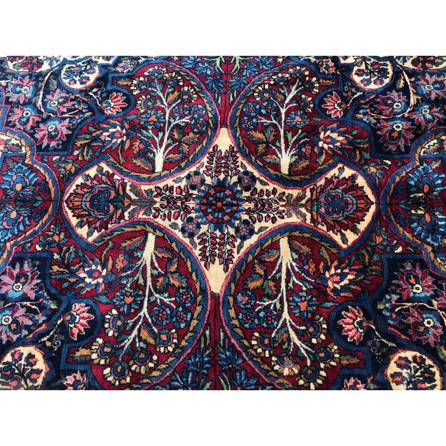 Palatial Antique Persian Carpet With Red Border, Blues, Reds, Creams, Kermin For Sale - Image 12 of 13