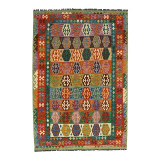 Afghan Kilim Handspun Wool Rug - 6′6″ × 9′7″ For Sale