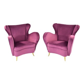 Italian Mid-Century Velvet Armchairs by ISA Bergamo- A Pair For Sale