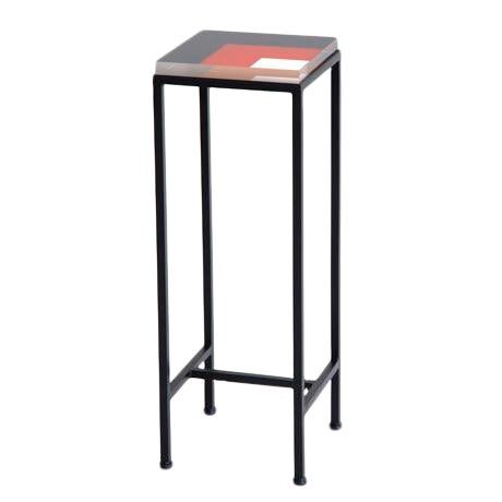 Contemprorary Ellsworth Acrylic Drinks Table – Base: European Blue, Top: Nesting Squares Navy/Red/White For Sale