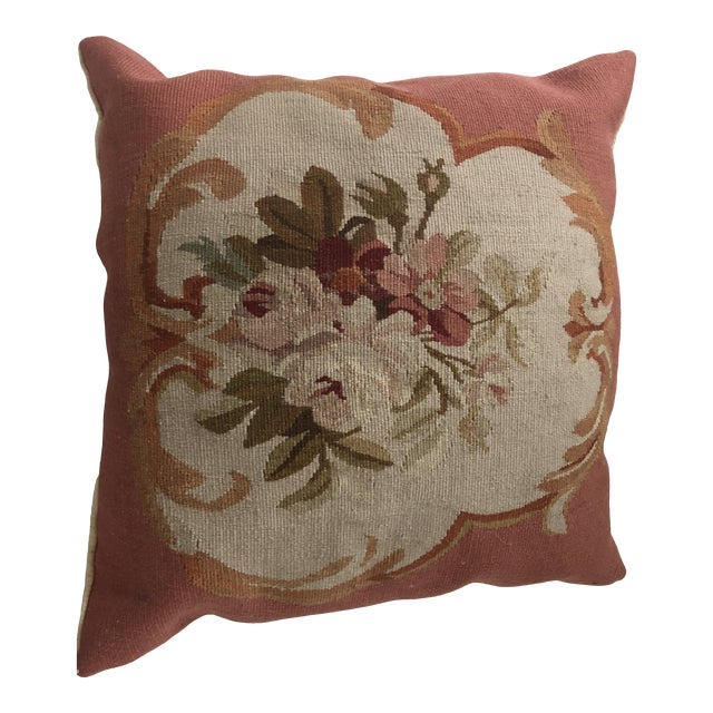 1980s Italian Aubusson Style Pillow For Sale