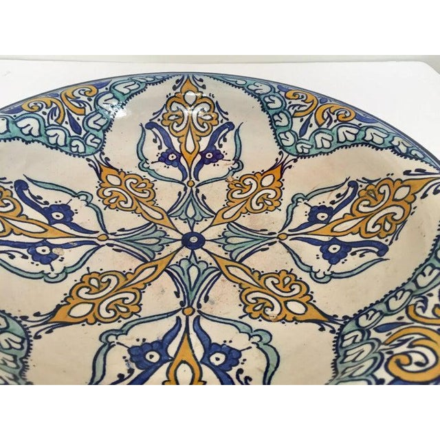 White Moroccan Large Ceramic Plate Bowl From Fez For Sale - Image 8 of 13
