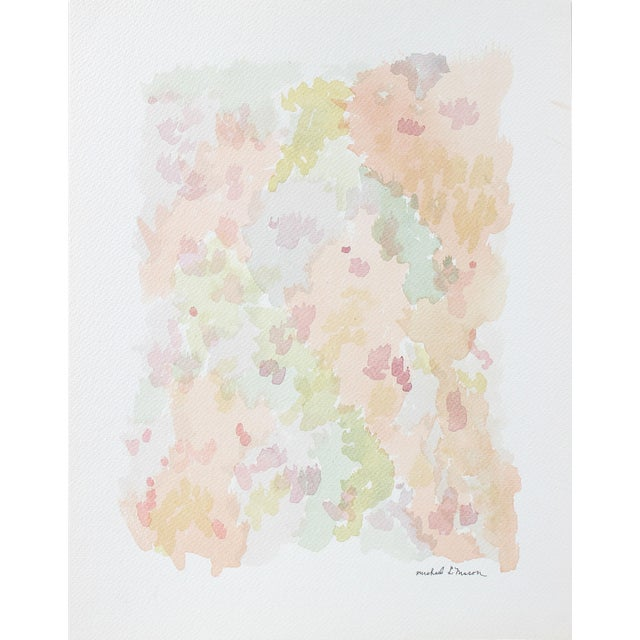 This 1963 colorful watercolor on paper abstract in pink, green, blue, and purple is by Chicago painter and printmaker...