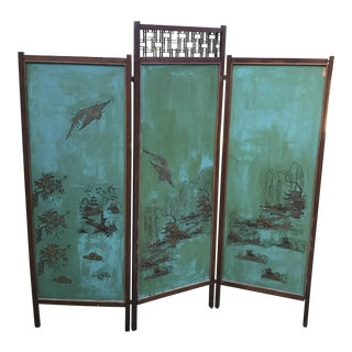 Vintage Asian Screen Painted Room Divider For Sale