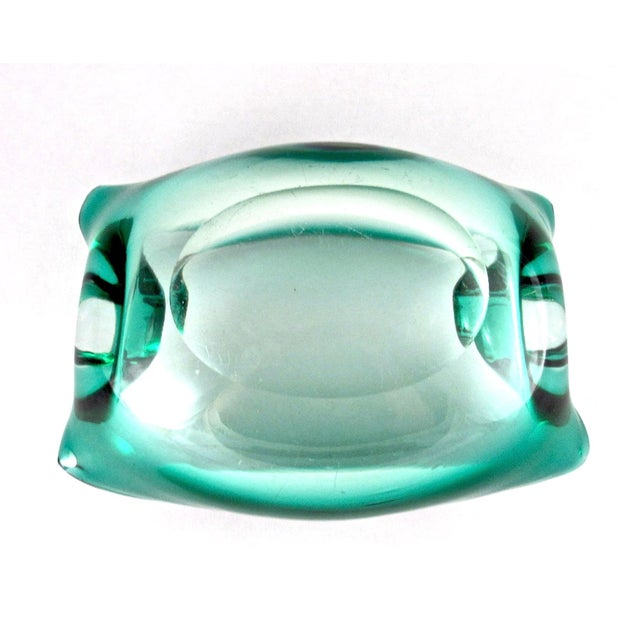 Green Green Mid Century Hand Blown Glass Cigar Ashtray For Sale - Image 8 of 9
