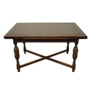 "20th Century English Revival Gothic Jacobean 78"" Draw Leaf Dining Table For Sale"