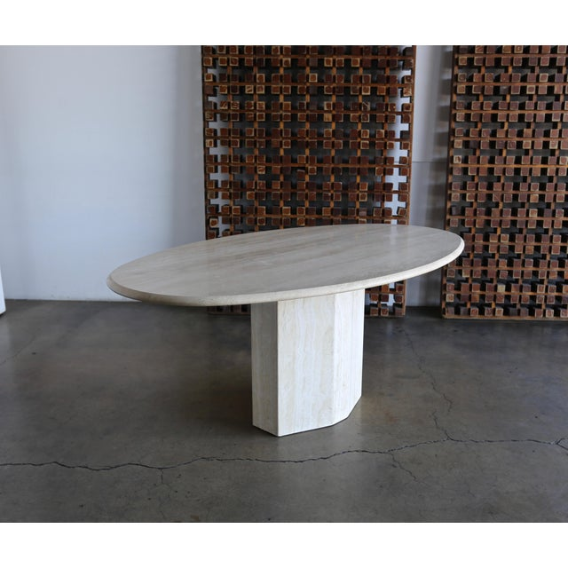 Travertine Oval Dining Table circa 1980. A classic, modern piece for your home!
