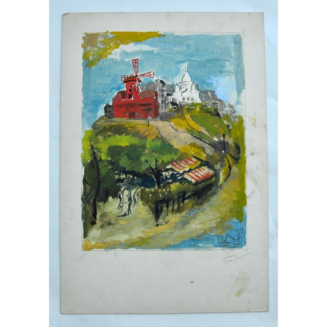 A stunning gouache by French Impressionist Pierre Sicard (1900-1980), signed in pencil on the right side, unframed....