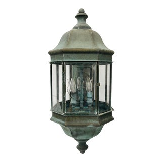 Antique Oxidized Copper Lantern Lights For Sale
