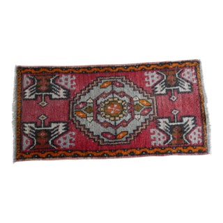 Low Pile Turkish Yastik Petite Rug Hand Knotted Faded Mat For Sale