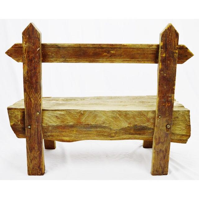 "Antique Primitive ""Petrified"" Wood Log Bench For Sale - Image 12 of 13"